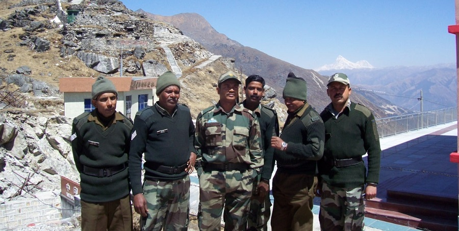 Soldiers at Nathula Pass